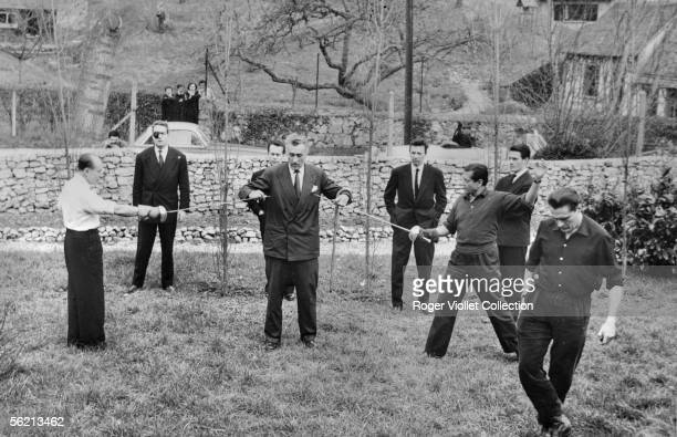 Duel between the Marquis de Cuevas and Serge Lifar On left in the second plan JeanMarie Le Pen on the right of face Max Bozzoni March 30 1958