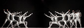 The duel of fencers on a black background. Collage of photos taken with a stroboscope