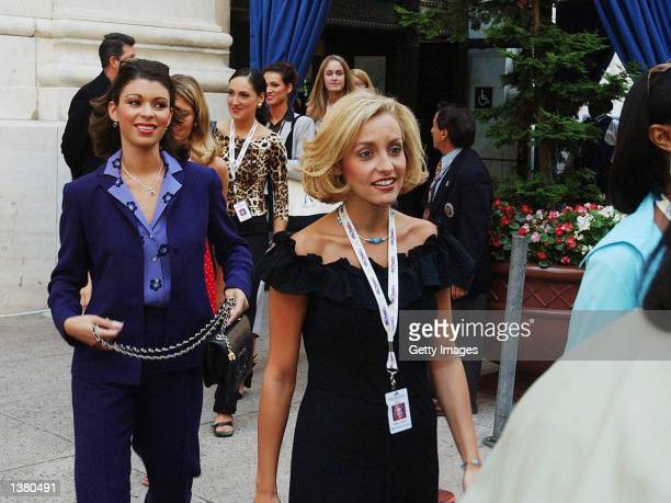 Dueling dual Miss North Carolinas Rebekah Revels and Misty Clymer leave a luncheon at Drexel University September 7 2002 in Philadelphia A federal...