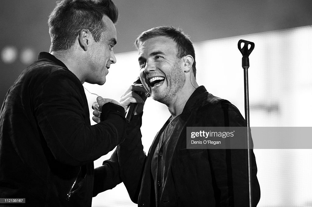 A duet by singers <a gi-track='captionPersonalityLinkClicked' href=/galleries/search?phrase=Robbie+Williams&family=editorial&specificpeople=201201 ng-click='$event.stopPropagation()'>Robbie Williams</a> and <a gi-track='captionPersonalityLinkClicked' href=/galleries/search?phrase=Gary+Barlow&family=editorial&specificpeople=616384 ng-click='$event.stopPropagation()'>Gary Barlow</a>, 2010.