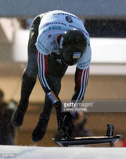 Duff Gibson of Canada is pictured at FIBT World Cup Men's skeleton race in Sigulda 18 December 2004 Gibson placed first AFP PHOTO/ILMARS ZNOTINS