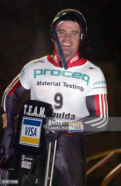 Duff Gibson of Canada the winner of the FIBT World Cup Men's skeleton race is pictured in Sigulda 18 December 2004AFP PHOTO/ILMARS ZNOTINS