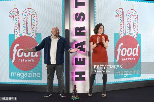 Duff Goldman and Editor in Chief of Food Network Magazine Maile Carpenter speak onstage at Hearst Magazines' Unbound Access MagFront at Hearst Tower...