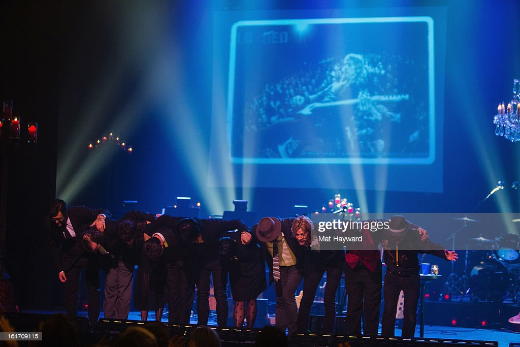<a gi-track='captionPersonalityLinkClicked' href=/galleries/search?phrase=Duff+McKagan&family=editorial&specificpeople=209200 ng-click='$event.stopPropagation()'>Duff McKagan</a> and band take a bow after performing 'It's So Easy And Other Lies, A Punks Revue' at The Moore Theater on March 26, 2013 in Seattle, Washington.