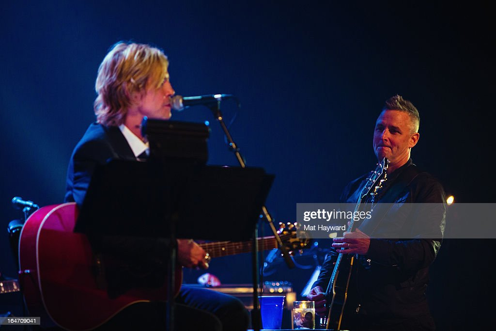 Duff McKagan and Mike McCready of Pearl Jam performs 'It's So Easy And Other Lies, A Punks Revue' at The Moore Theater on March 26, 2013 in Seattle, Washington.