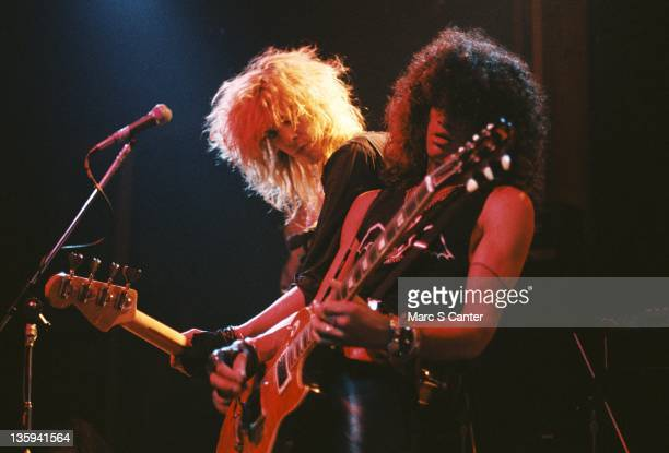 Duff McKagan and Slash of the rock band 'Guns n' Roses' performs onstage at the Troubadour where they played 'My Michelle' for the first time on...