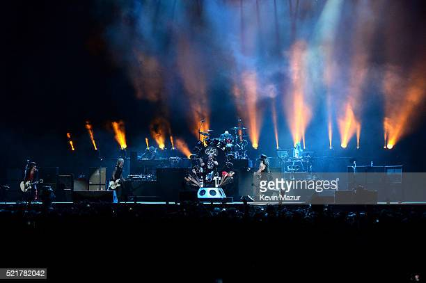 Duff McKagan Axl Rose and Slash of Guns N' Roses perform onstage during day 2 of the 2016 Coachella Valley Music Arts Festival Weekend 1 at the...