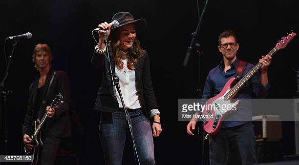 Duff McKagan Brandi Carlile and Stefan Lessard perform on stage during '90 Minutes With Will Ferrell' benefitting Cancer For College at University of...