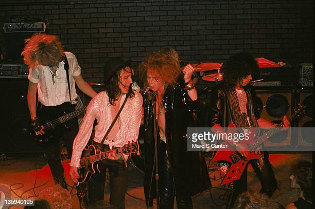 Duff McKagan Izzy Stradlin Axl Rose and Slash the rock band 'Guns n' Roses' perform onstage at the Troubadour on July 20 1985 where they performed...