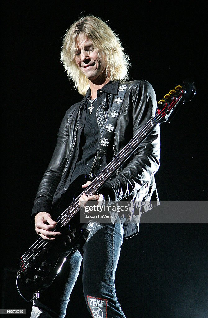 Duff McKagan of Velvet Revolver performs at the Gibson Amphitheater on December 12 2007 in Los Angeles California