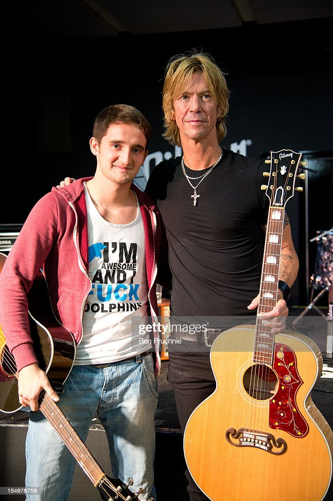 Duff McKagan poses with wounded soldier Danny O'Connor through the Help for Heroes charity on October 29, 2012 in London, England.