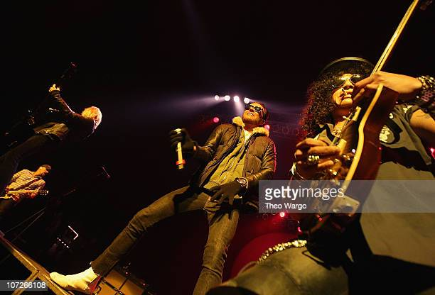 Duff McKagan Scott Weiland and Slash of Velvet Revolver in concert on New Year's Eve 2008 at Hammerstein Ballroom in New York City