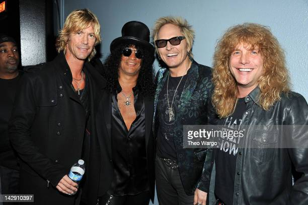 Duff McKagan Slash Matt Sorum and Steven Adler of Guns N' Roses attend the 27th Annual Rock And Roll Hall Of Fame Induction Ceremony at Public Hall...