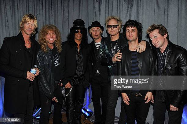Duff McKagan Steven Adler Slash of Guns N' Roses poses with Mike Dirnt of Green Day Matt Sorum of Guns N' Roses Billie Joe Armstrong and Frank Wright...