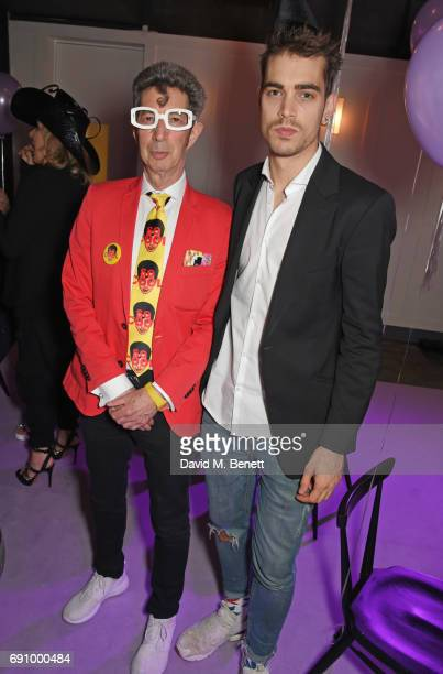 Duggie Fields and Jordan Bowen attend Stephen Jones 100th Birthday gala dinner celebrating his 60th birthday and 40 years in millinery at...