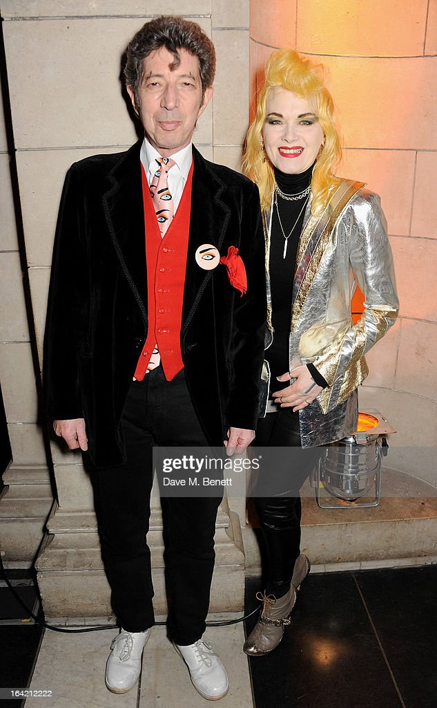 Duggie Fields (L) and Pam Hogg attend the private view for the 'David Bowie Is' exhibition in partnership with Gucci and Sennheiser at the Victoria and Albert Museum on March 20, 2013 in London, England.