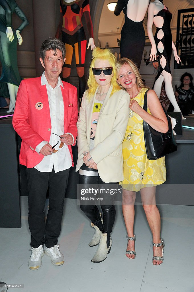 Duggie Fields, Pam Hogg and <a gi-track='captionPersonalityLinkClicked' href=/galleries/search?phrase=Claire+Forlani&family=editorial&specificpeople=214159 ng-click='$event.stopPropagation()'>Claire Forlani</a> attend the Club To Catwalk: London Fashion In The 1980's exhibition at Victoria & Albert Museum on July 8, 2013 in London, England.