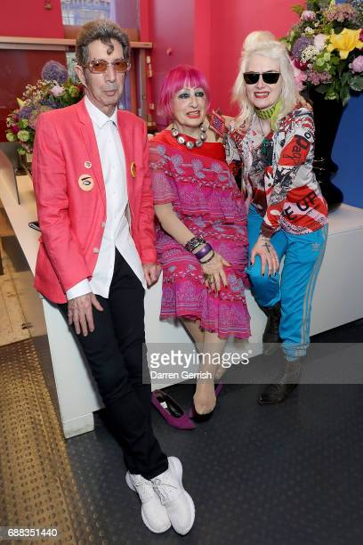 Duggie Fields Zandra Rhodes and Pam Hogg attend the World of Anna Sui Exhibition Private View at the Fashion and Textile Museum on May 25 2017 in...