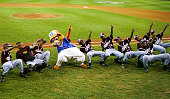 Dugout the Little League Mascot dances with the Caribbean team before the International Final of the Little League World Series on August 27 2005 at...