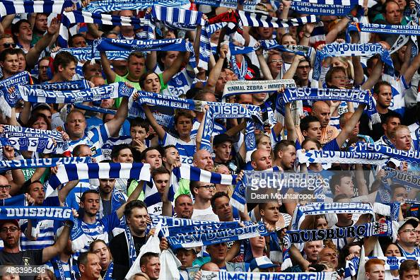 Duisburg fans show their support during the DFB Cup match between MSV Duisburg and FC Schalke 04 held at SchauinslandReisenArena on August 8 2015 in...