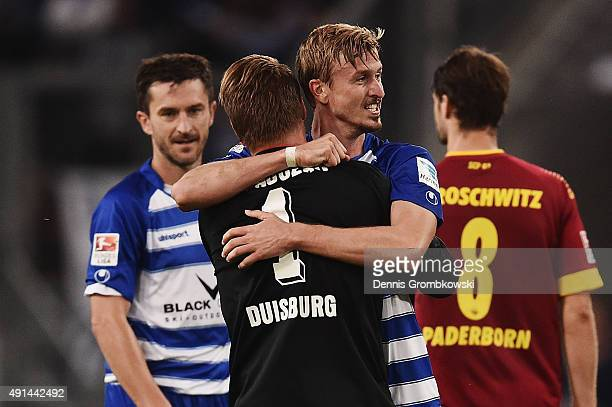 Duisburg players Michael Katajczak and Thomas Meissner celebrate after the Second Bundesliga match between MSV Duisburg and SC Paderborn at...