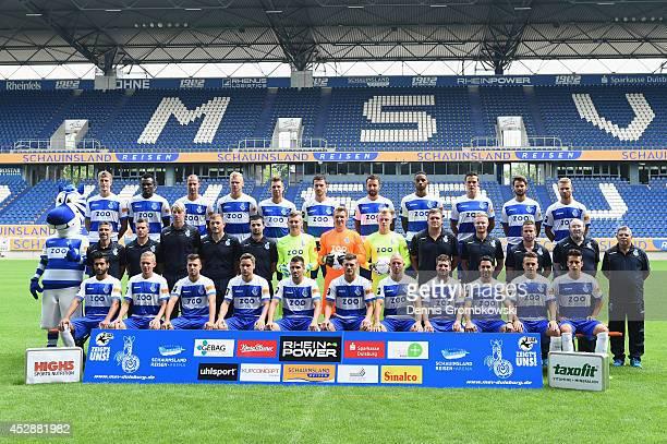 Duisburg team pose during the official MSV Duisburg team presentation at SchauinslandReisenArena on July 29 2014 in Duisburg Germany