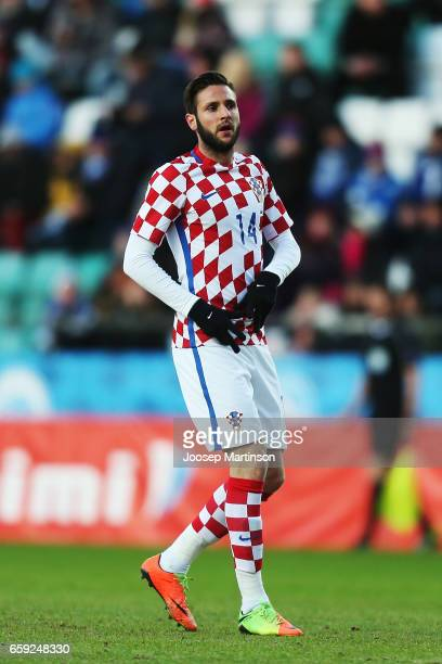 Duje Cop of Croatia looks on during international friendly between Estonia and Croatia at A le Coq Arena on March 28 2017 in Tallinn Estonia