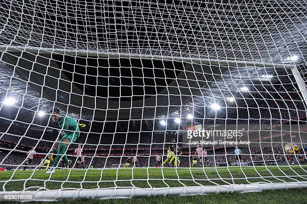 Duje Cop of Real Sporting de Gijon celebrates after scoring goal during the La Liga match between Athletic Club Bilbao and Real Sporting de Gijon at...