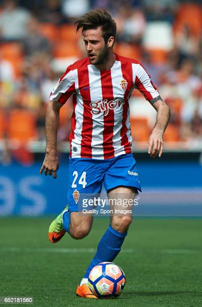 Duje Cop of Real Sporting de Gijon in action during the La Liga match between Valencia CF and Real Sporting de Gijon at Mestalla Stadium on March 11...