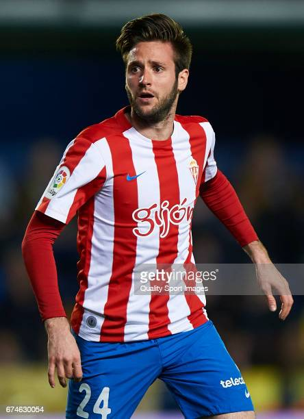 Duje Cop of Real Sporting de Gijon reacts during the La Liga match between Villarreal CF and Real Sporting de Gijon at Estadio de la Ceramica on...