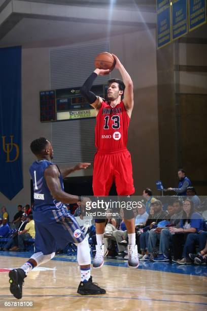 Duje Dukan of the Windy City Bulls against Nate Robinson of the Delaware 87ers during the game on March 25 2017 at Bob Carpenter Center in Newark...