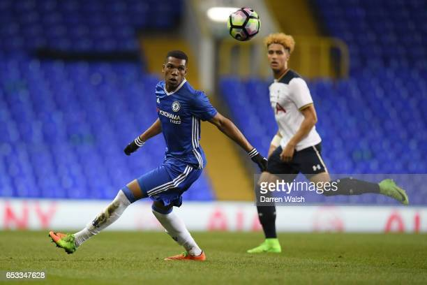 Dujon Sterling of Chelsea and Keanan Bennetts of Tottenham Hotspur during a FA Youth Cup Semi Final First Leg match between Tottenham Hotspur v...