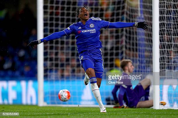 Dujon Sterling of Chelsea celebrates his goal during the FA Youth Cup Final Second Leg between Chelsea and Manchester City at Stamford Bridge on...