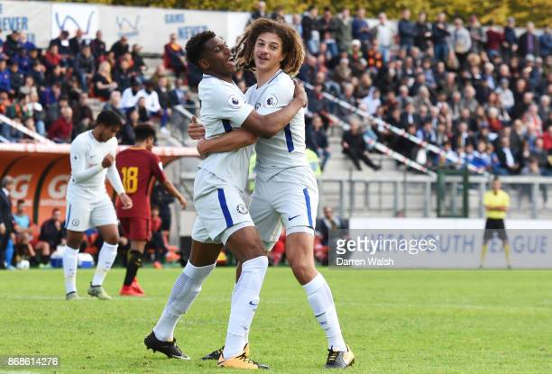 Dujon Sterling of Chelsea celebrates his goal with Ethan Ampadu and George McEachran during the UEFA Youth League match between AS Roma and Chelsea...