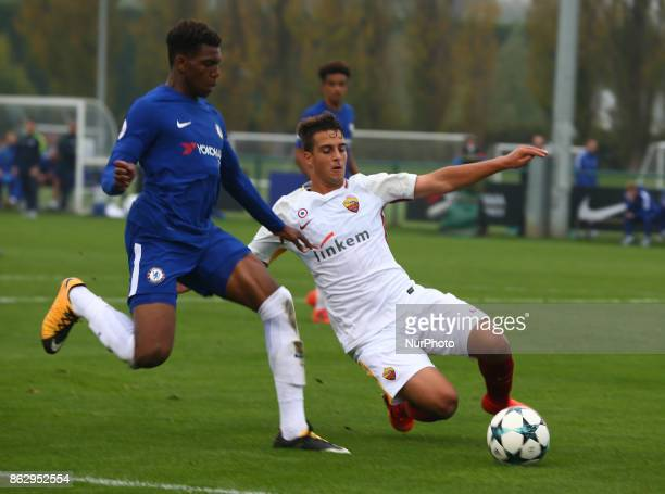 Dujon Sterling of Chelsea Under 19s beats Francesco Semeraro of AS Roma Under 19s during UEFA YouthLeague match between Chelsea Under 19s against AS...