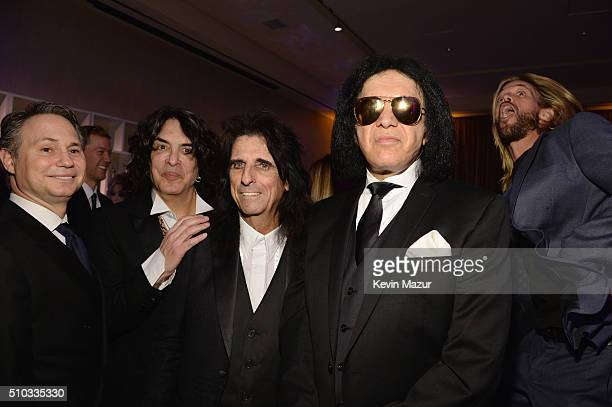 DuJour CEO Jason Binn recording artist Paul Stanley Alice Cooper Gene Simmons and Taylor Hawkins attend the 2016 PreGRAMMY Gala and Salute to...