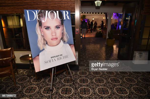DuJour magazine cover on display at DuJour's Jason Binn And WellNEST Celebrate Miami Beach's Art Basel KickOff at The Confidante on December 6 2017...