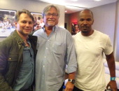 DuJour Media Founder Jason Binn Owner of the NBA Miami Heat Micky Arison and Jamie Foxx at the Miami Heat NBA game on January 2 2014 in Miami