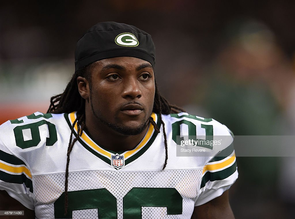 <a gi-track='captionPersonalityLinkClicked' href=/galleries/search?phrase=DuJuan+Harris&family=editorial&specificpeople=5547092 ng-click='$event.stopPropagation()'>DuJuan Harris</a> #26 of the Green Bay Packers warms up prior to the start of the game against the New Orleans Saints at Mercedes-Benz Superdome on October 26, 2014 in New Orleans, Louisiana.