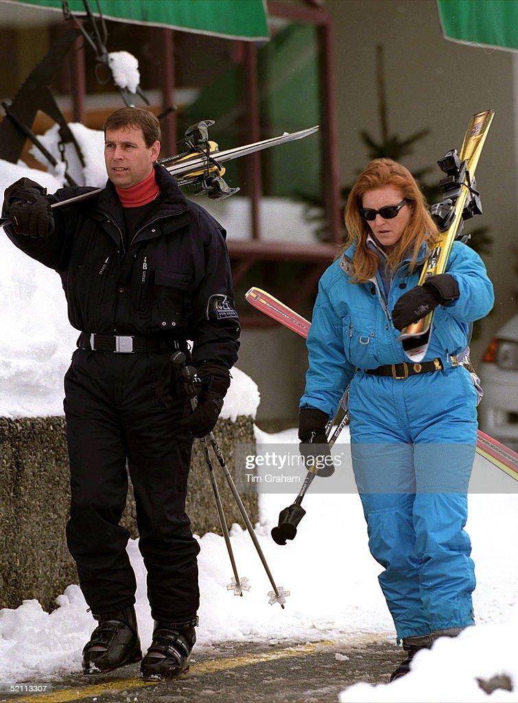 Duke And Duchess Of York On Skiing Holiday In Verbier, Switzerland.