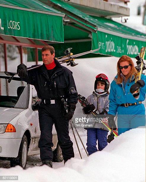 Duke And Duchess Of York On Skiing Holiday With Princess Eugenie In Verbier Switzerland