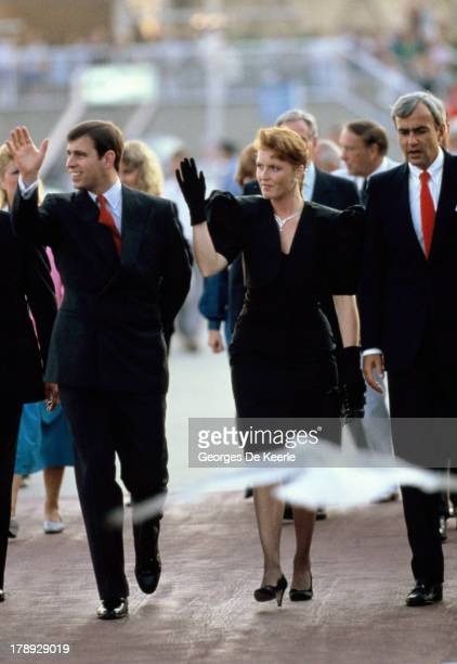 Duke and Duchess of York Prince Andrew and Sarah Ferguson during a visit to Canada on July 27 1987 in Toronto Canada