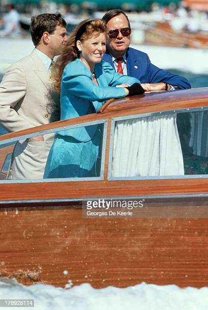 Duke and Duchess of York Sarah Ferguson and Prince Andrew on a boat during their visit to Venice on August 1989 in Venice Italy