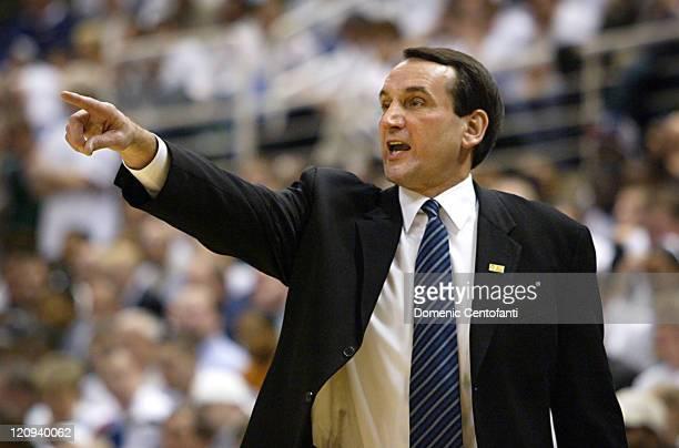 Duke Blue Devil head coach Mike Krzyzewski during NCAA Men's Basketball 2003 Duke Blue Devil's vs Michigan State Spartans at Breslin Center in East...