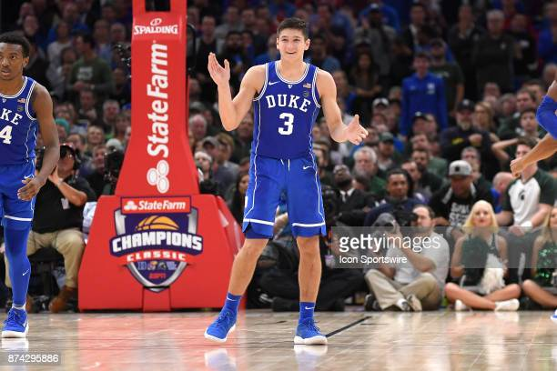 Duke Blue Devils guard Grayson Allen celebrates after making a three point basket in the second period during the State Farm Classic Champions...