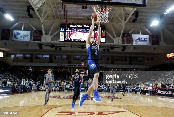 Duke Blue Devils guard Grayson Allen jams the ball on a break away during a game between the Boston College Eagles and the Duke University Blue...