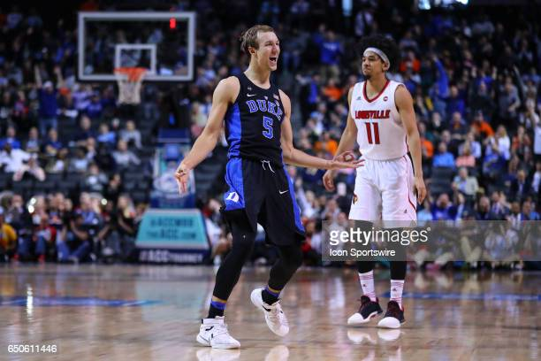 Duke Blue Devils guard Luke Kennard reacts after making a three point basket during the second half of the 2017 New York Life ACC Tournament third...
