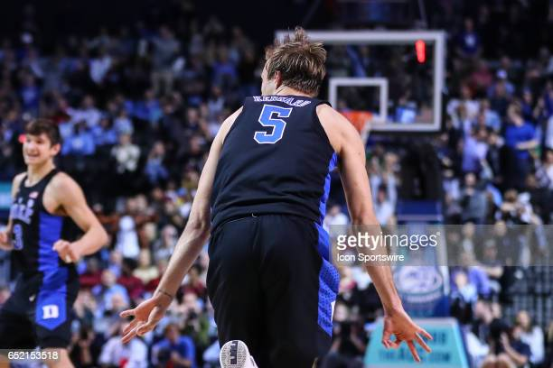 Duke Blue Devils guard Luke Kennard reacts after making a three point basket during the second half of the 2017 New York Life ACC Tournament...