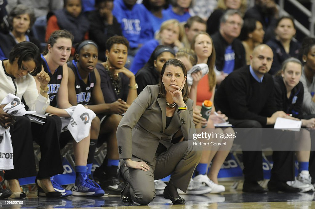 Duke Blue Devils head coach Joanne P. McCallie looks on during the second half in women's college basketball game against the Connecticut Huskies at Gampel Pavilion on Monday, January 21, 2013, in Storrs, Connecticut.