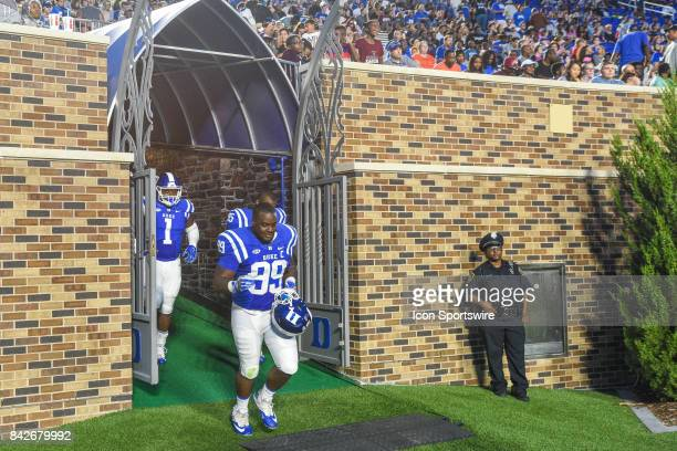 Duke Blue Devils tight end Mark Birmingham exits the tunnel during a college football game between the North Carolina Central Eagles and the Duke...